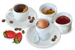 Breakfast coffee, egg, jam Vector realistic. 3d detailed menu template. Strawberry jam flavor. delicious desserts poster - starpik
