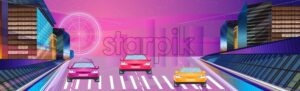 Car racing night banner Vector. Road cars traffic jam. Flat style - starpik