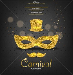 Carnival golden glitter mask Vector realistic. Man style. Masquerade Party. Mardi Gras card invitation. Night Party Poster. Dance Flyer. Musical festival banner template - starpik
