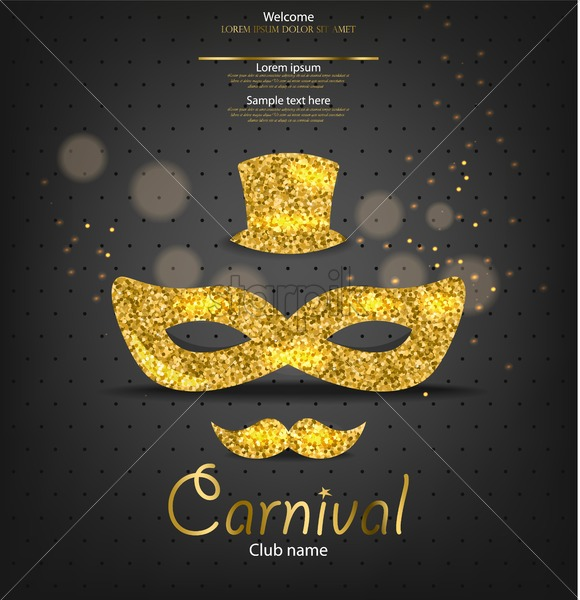 Carnival Golden Glitter Mask Vector Realistic Man Style Masquerade Party Mardi Gras Card Invitation Night Party Poster Dance Flyer Musical Festival Banner Template Starpik Stock