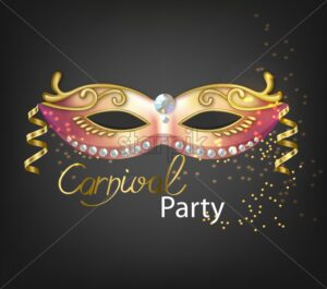 Carnival golden glitter mask Vector realistic. Stylish Masquerade Party. Mardi Gras card invitation. Night Party Poster. Dance Flyer. Musical festival banner template - starpik
