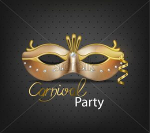 Carnival luxury golden mask Vector realistic. Stylish Masquerade Party. Mardi Gras card invitation. Night Party Poster. Dance Flyer. Musical festival banner template - starpik