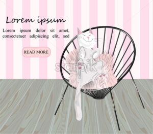 Cat sleeping in a chair Vector. Cartoon style interior design room decoration - starpik