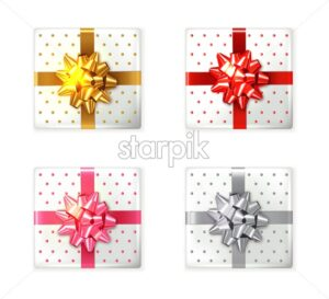 Colorful Gift box set Vector realistic. Product placement mock up. Design packaging 3d illustration - starpik