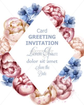 Colorful peony flowers watercolor greeting card Vector. Peony floral bouquet invitation. Wedding ceremony event - starpik