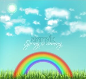Colorful rainbow on sky background Vector realistic. Beautiful green meadow background - starpik
