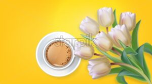 Cup of coffee and tulip flowers Vector realistic. Spring summer season card illustrations. White bouquet and aromatic drink - starpik