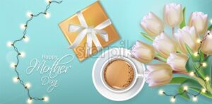 Cup of coffee and tulip flowers Vector realistic. Spring summer season card illustrations. White bouquet and lights garland - starpik