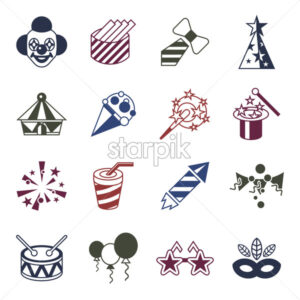 Digital vector carnival and circus simple icons, flat style infographics - starpik
