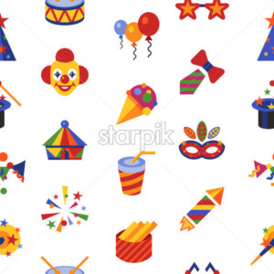 Digital vector carnival and circus simple icons, flat style seamless pattern infographics - starpik