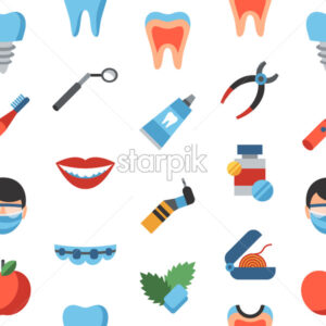 Digital vector dentistry and healthcare simple icons, flat style seamless pattern infographics - starpik