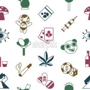 Digital vector freaks and drugs simple icons, flat style seamless pattern infographics - starpik