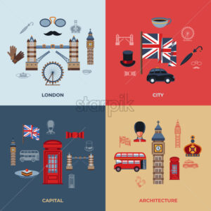Digital vector london simple icons, flat style infographics - starpik