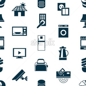 Digital vector smart and digital house simple icons, flat style infographics seamless pattern - starpik