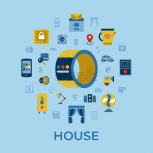 Digital vector wireless smart and digital house simple icons, flat style infographics - starpik