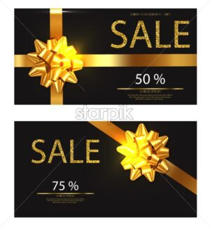 Discount voucher Vector realistic. Golden glitter card with red bow detailed 3d illustration - starpik