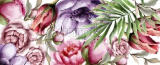 Floral watercolor background Vector. BEautiful peony, roses and tropic leaves. Detailed painted style - starpik