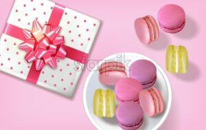Gift box macaroons realistic Vector. Banner template layout 3d illustration. Menu dessert label product placement - starpik