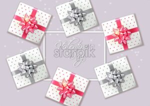 Gift box set Vector realistic. Product placement mock up. Design packaging 3d illustration - starpik