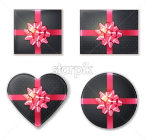 Gift box set collection black and pink Vector realistic. Product placement mock up. Design packaging 3d illustration - starpik