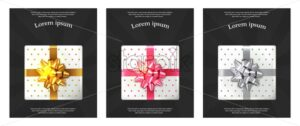 Gift boxes brochures Vector realistic. Dark background confeti sparkle. Product placement mock up. Design packaging 3d illustration. Birthday, Wedding, Anniversary decor template banner - starpik