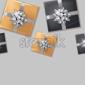 Gift boxes silver bow Vector realistic. Dark background confeti sparkle. Product placement mock up. Design packaging 3d illustration. Birthday, Wedding, Anniversary decor template banner - starpik