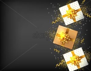 Gift boxes with golden bow Vector realistic. Dark background confeti sparkle. Product placement mock up. Design packaging 3d illustration. Birthday, Wedding, Anniversary decor template banner - starpik