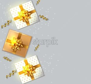 Gift boxes with golden bow Vector realistic. Product placement mock up. Design packaging 3d illustration. Birthday, Wedding, Anniversary decor template banner - starpik