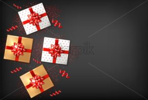 Gift boxes with red bow Vector realistic. Dark background confeti sparkle. Product placement mock up. Design packaging 3d illustration. Birthday, Wedding, Anniversary decor template banner - starpik