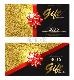 Gift voucher Vector realistic. Golden glitter card with red bow detailed 3d illustration - starpik
