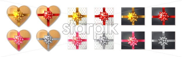 Giftbox set Vector realistic. Product placement mock up. Golden, silver, black and red boxes. Design packaging 3d illustration - starpik