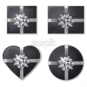 Giftbox set black and silver Vector realistic. Product placement mock up. Design packaging 3d illustration - starpik
