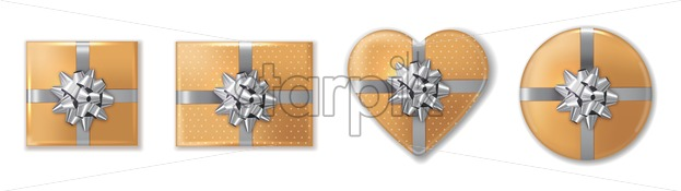 Giftbox set golden silver Vector realistic. Product placement mock up. Design packaging 3d illustration - starpik