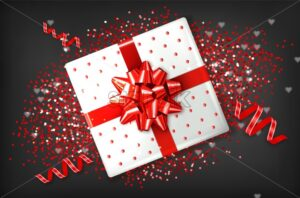 Giftbox with red bow Vector realistic. Confeti and garland sparkle. Product placement mock up. Design packaging 3d illustration. Birthday, Wedding, Anniversary decor template banner - starpik