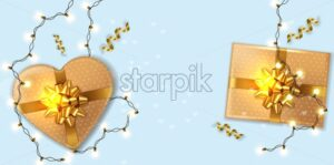 Gold Gift boxes with lights garland Vector realistic. Product placement mock up. Design packaging 3d illustration. Birthday, Wedding, Anniversary decor template banner - starpik