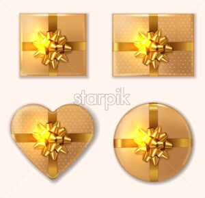 Golden Gift box set Vector realistic. Product placement mock up. Design packaging 3d illustration - starpik