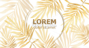 Golden Palm leaves card frame Vector watercolor. Tropic exotic texture. Gold shiny decor - starpik