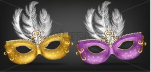 Golden and purple mask with feathers Vector realistic. Stylish Masquerade Party. Mardi Gras card invitation. Night Party Poster. Dance Flyer. Musical festival banner template - starpik