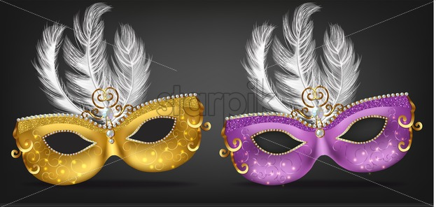 Golden and purple mask with feathers Vector realistic. Stylish Masquerade Party. Mardi Gras card