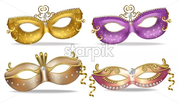 Golden and purple masks set collection Vector realistic. Stylish Masquerade Party. Mardi Gras card invitation. Night Party Poster. Dance Flyer. Musical festival banner template - starpik