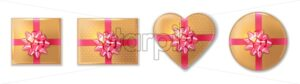 Golden giftbox set with pink bow Vector realistic. Product placement mock up. Design packaging 3d illustration - starpik