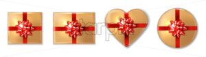 Golden giftbox set with red bow Vector realistic. Product placement mock up. Design packaging 3d illustration - starpik