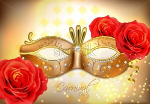 Golden mask with diomonds Vector realistic. Stylish Masquerade Party. Mardi Gras card invitation. Night Party Poster. Dance Flyer lights. Musical festival banner template - starpik
