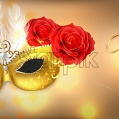 Golden mask with feathers Vector realistic. Stylish Masquerade Party. Mardi Gras card invitation. Night Party Poster. Dance Flyer. Musical festival banner template - starpik