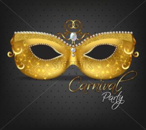 Golden ornamented mask Vector realistic. Stylish Masquerade Party. Mardi Gras card invitation. Night Party Poster. Dance Flyer. Musical festival banner template - starpik