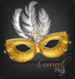 Golden ornamented mask with feathers Vector realistic. Stylish Masquerade Party. Mardi Gras card invitation. Night Party Poster. Dance Flyer. Musical festival banner template - starpik