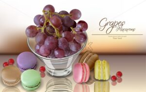Grapes fruit and macaroons Vector realistic. 3d detailed card menu template. delicious desserts posters. hyperrealism card - starpik