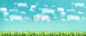 Green meadow and blue sky Vector realistic banner template - starpik