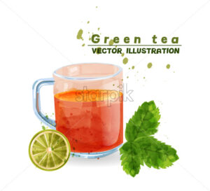 Green tea cup watercolor Vector. Aromatic tea icon template isolated - starpik