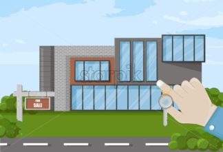 Hand holding keys house for sale Vector. architecture facade. Real estate template - starpik